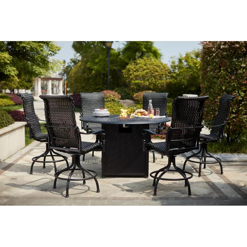 milliman round 6 person 60 long bar height dining set
