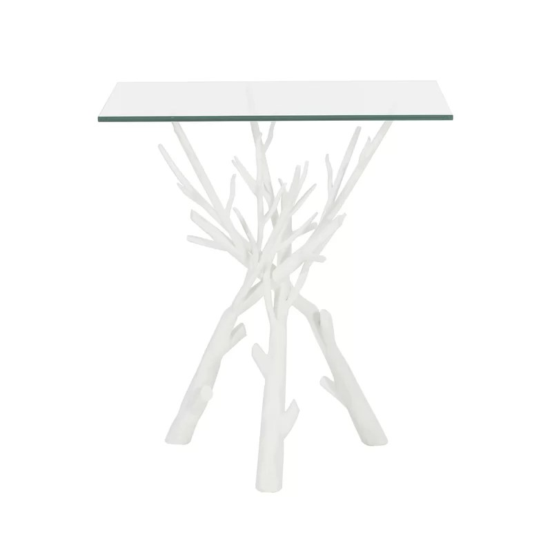 glass top tree stump end table