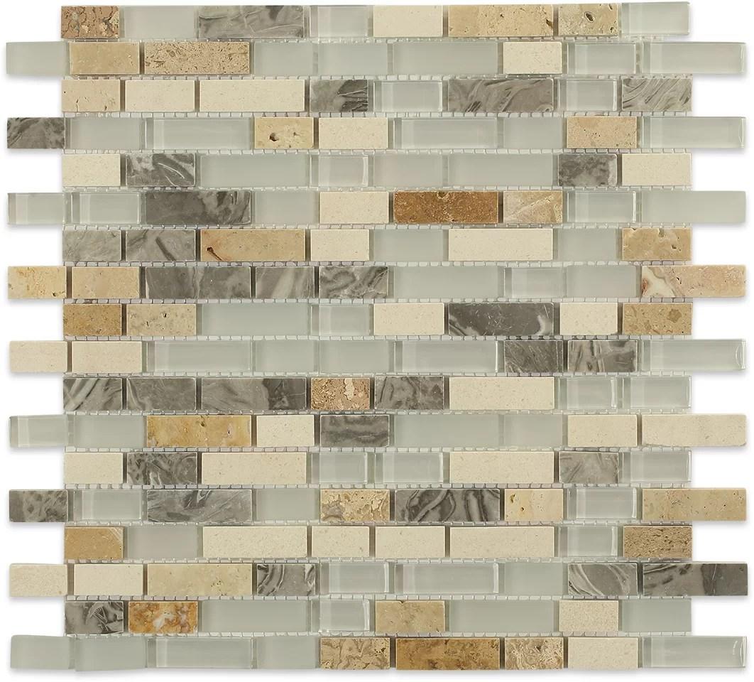 arizona random sized mixed material mosaic tile in rain blend