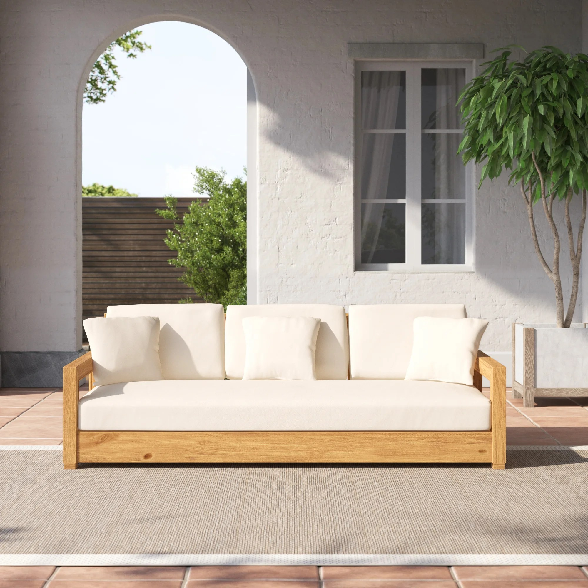 montford 76 55 wide outdoor teak patio sofa with cushions