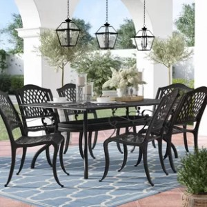 Metal Patio Furniture   Birch Lane Castle Heights 7 Piece Dining Set