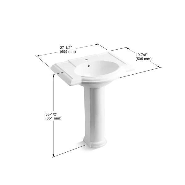 devonshire ceramic 28 pedestal bathroom sink with overflow