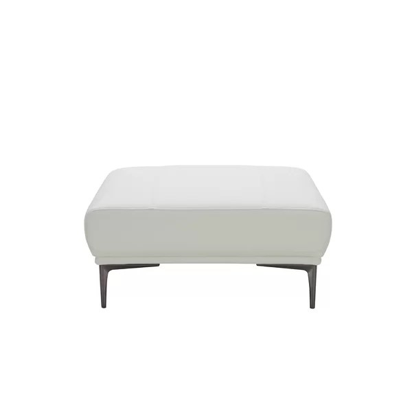 modern contemporary grey leather ottoman