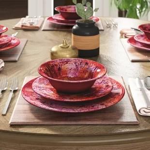 breana 12 piece melamine dinnerware set service for 4