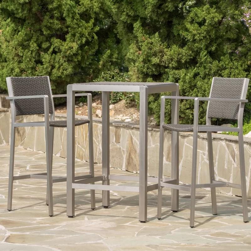 royalston 2 person 81 7 long aluminum bar height dining set