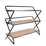 Burntwood Wood And Metal Etagere Bookcase