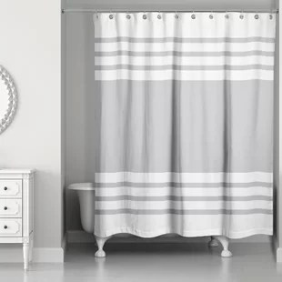 gray silver striped shower curtains