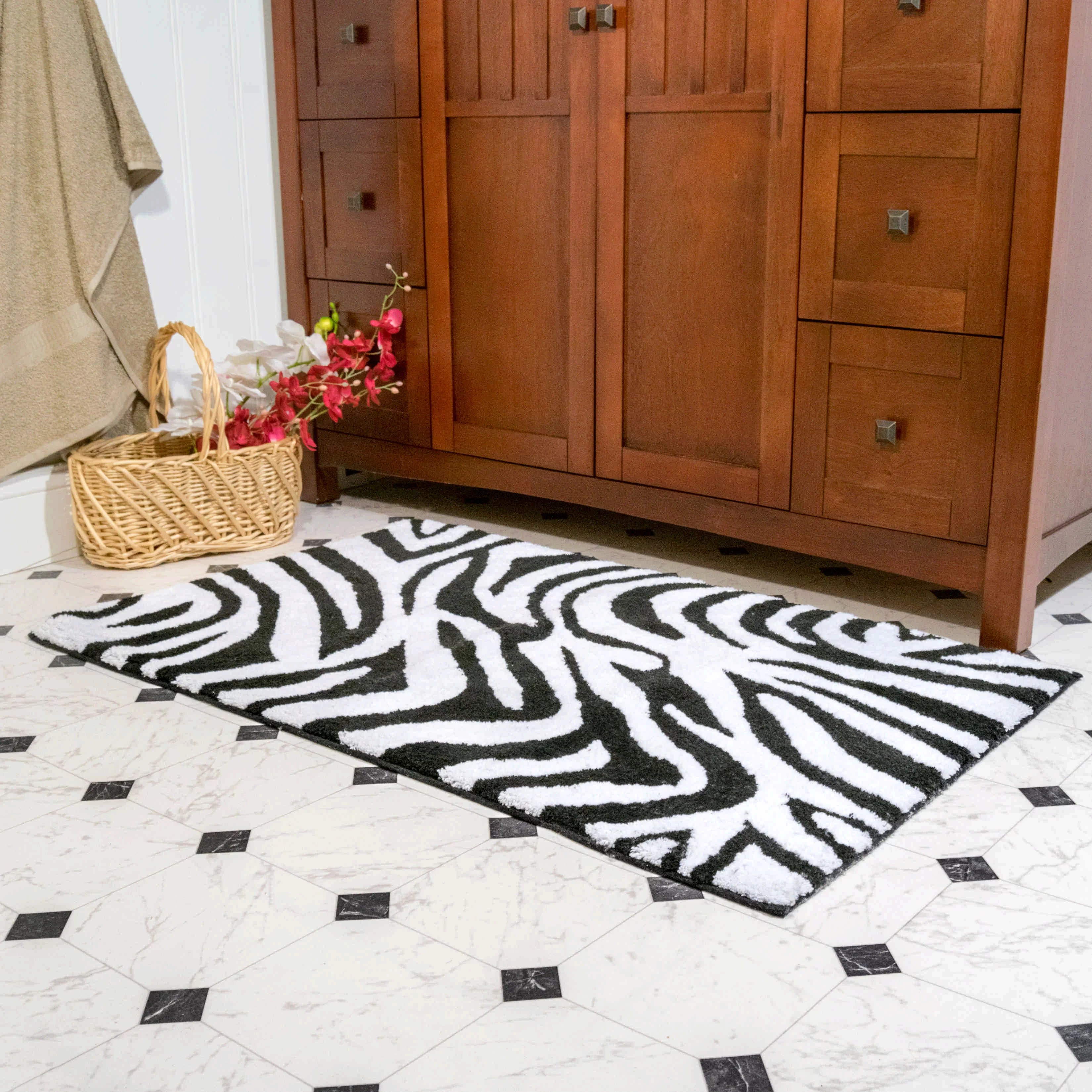 World Menagerie Cheltenham Zebra Contemporary Rectangle 100 Cotton Non Slip Animal Print Piece Bath Rug Set Reviews