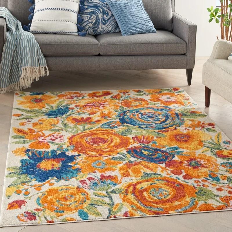 maebel floral orange beige green area rug