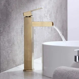 gold waterfall bathroom sink faucets