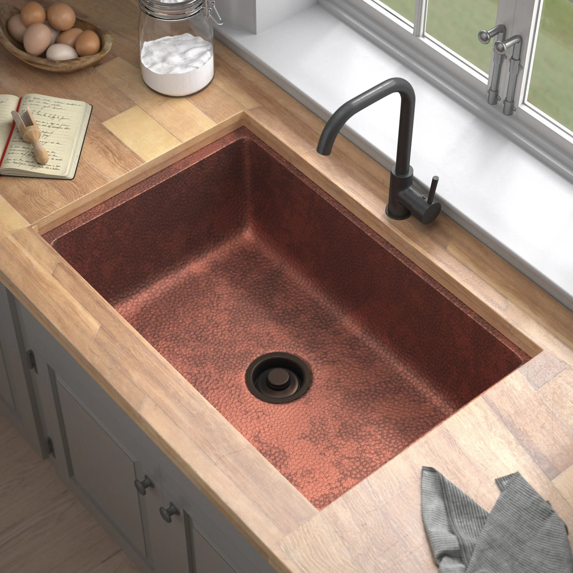 galya copper 33 l x 22 w undermount kitchen sink with drain assembly