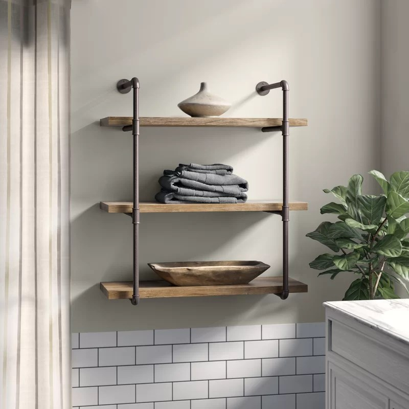 Kennard 3 Tier Industrial Pipe Wall Shelf