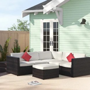 lilith 76 8 wide outdoor wicker symmetrical patio sectional with cushions