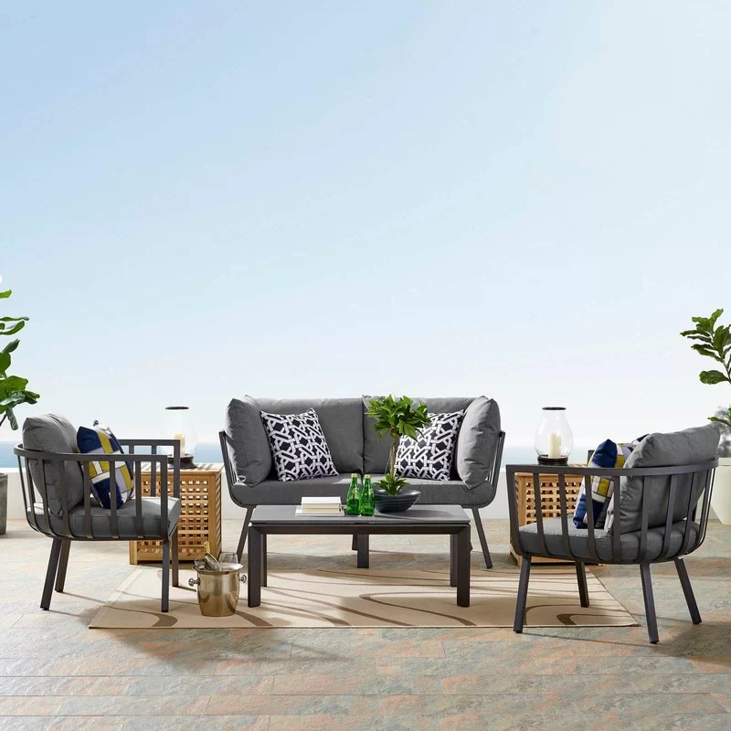 kelly outdoor patio 4 piece sofa seating group with cushions
