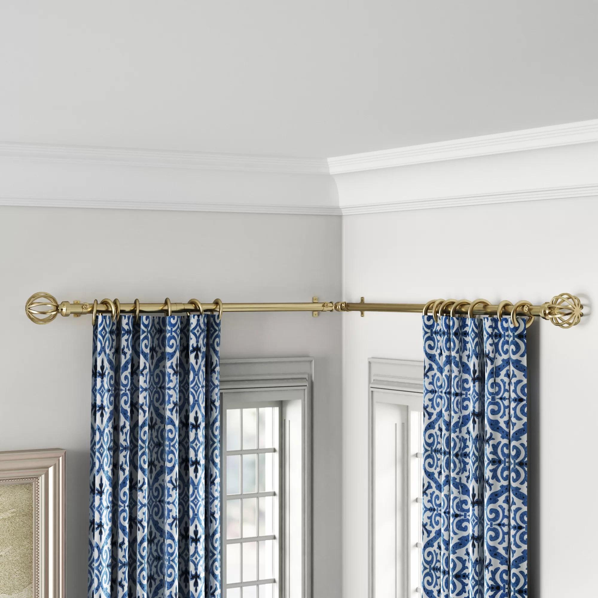 caden corner window single curtain rod