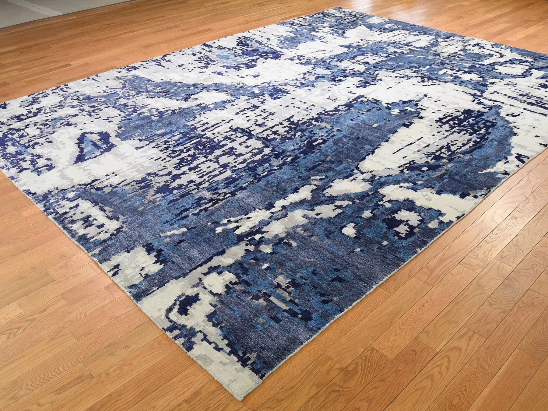 World Menagerie One Of A Kind Evert Hand Knotted Blue 9 X 12 Area Rug Wayfair