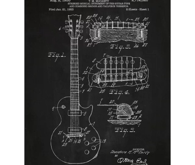 Williston Forge Gibson Les Paul Guitar Blueprint Graphic Art Reviews Wayfair