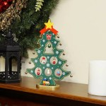 Northlight 11 25 Wooden Christmas Tree Cut Out With Miniature Ornaments Table Top Decoration Wayfair