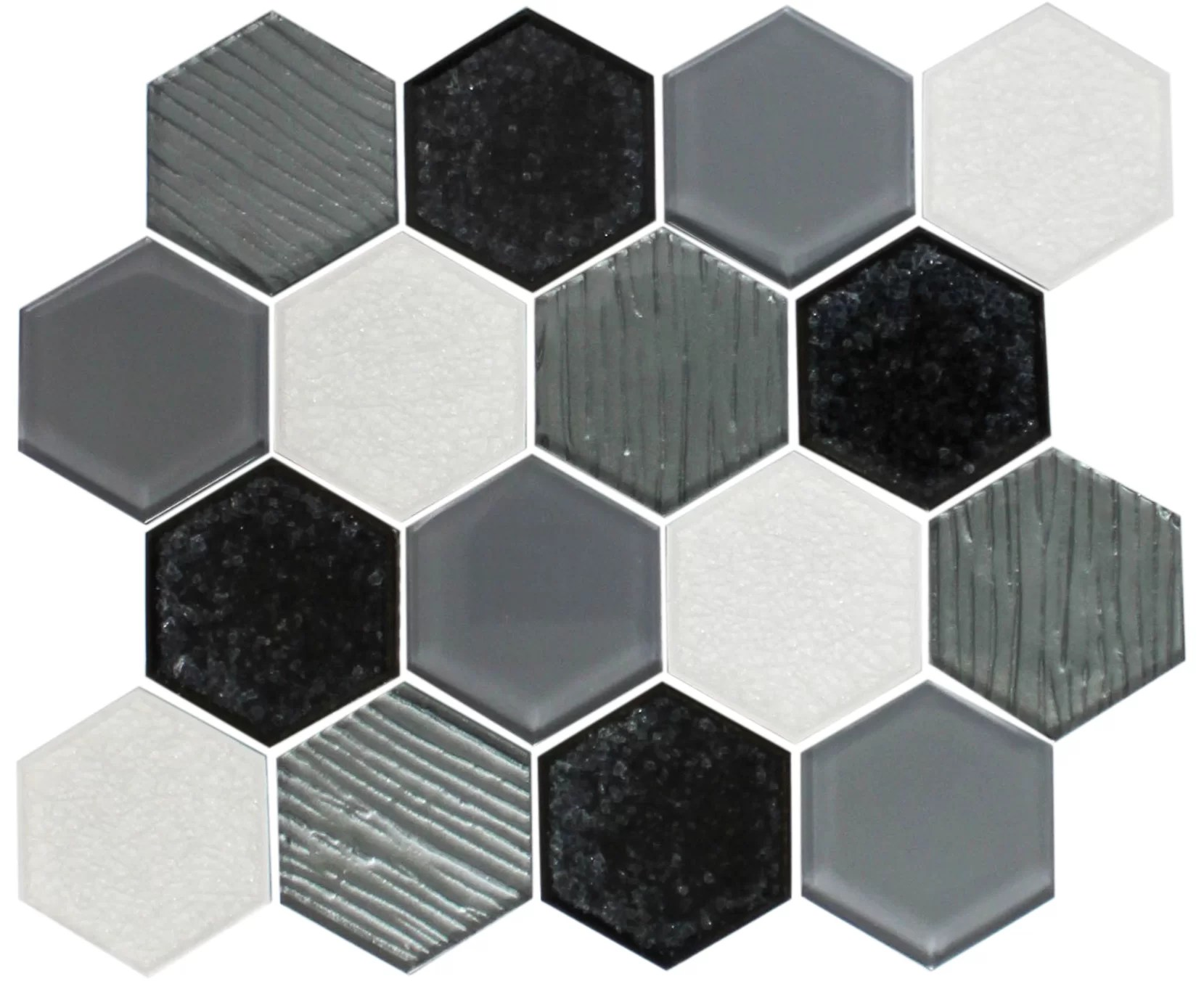 kimberlei crackle hexagon mix random sized glass mosaic tile in white black
