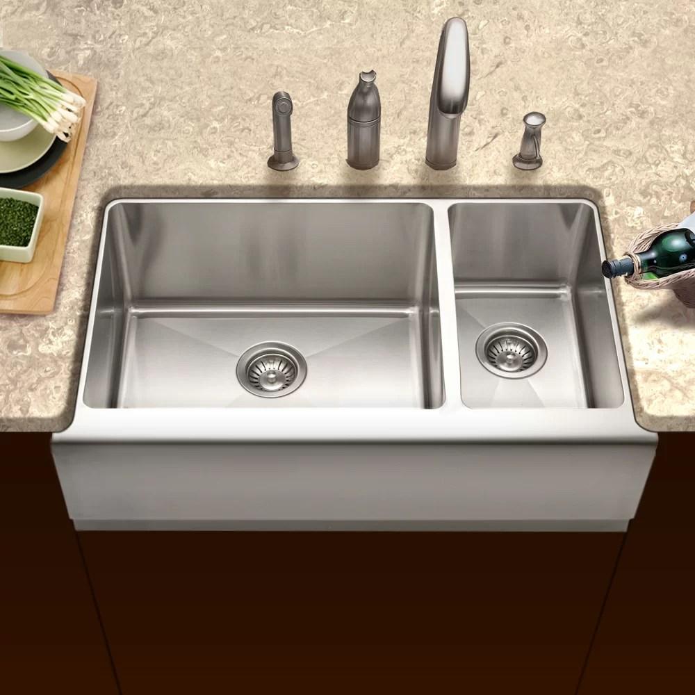 epicure 32 88 l x 20 w farmhouse double bowl 70 30 kitchen sink