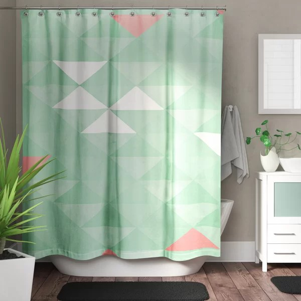 mint green and grey shower curtain