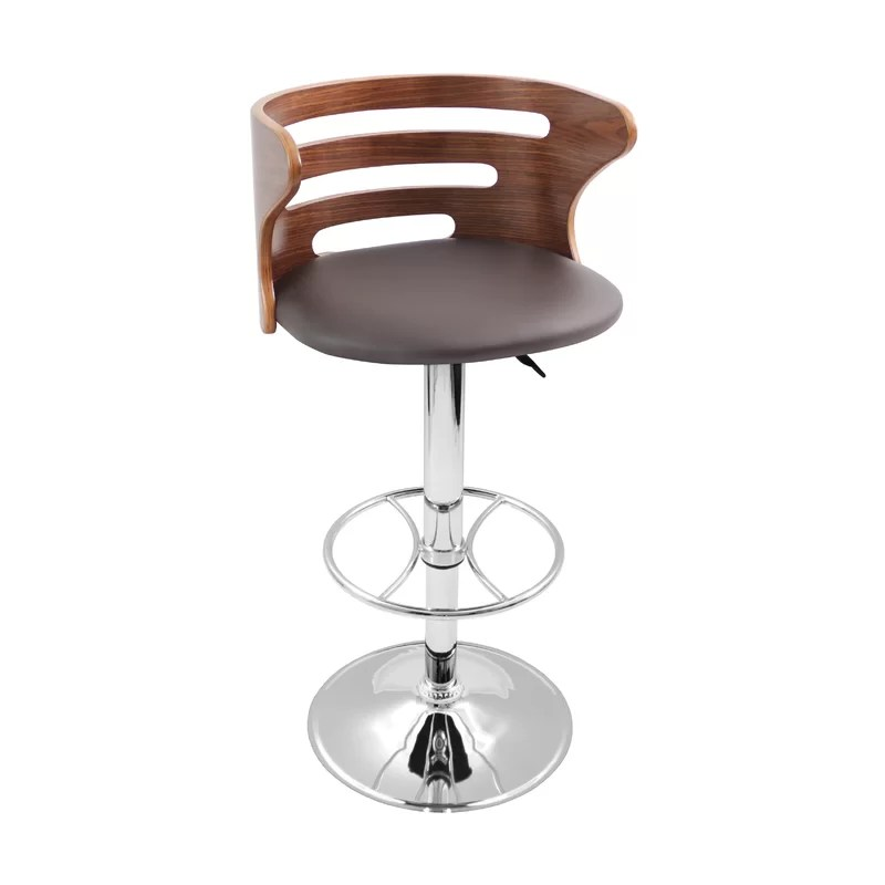 White Leather Swivel Bar Stool