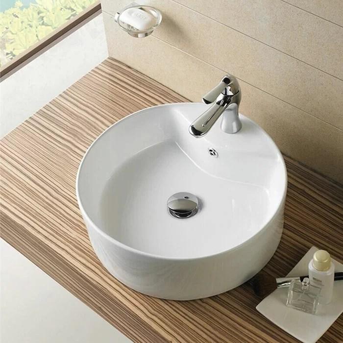 Decoraport Lavabo De Salle De Bain Vasque Circulaire En Ceramique Avec Trop Plein Et Commentaires Wayfair Ca