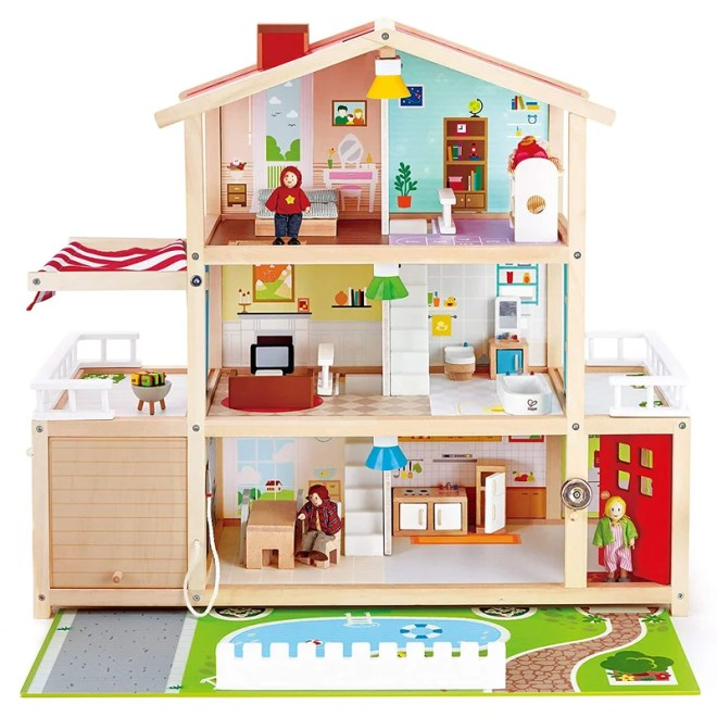 Hape 10 Room Wooden Family Play Mansion Doll House W/Accessories For Ages 3 & Up