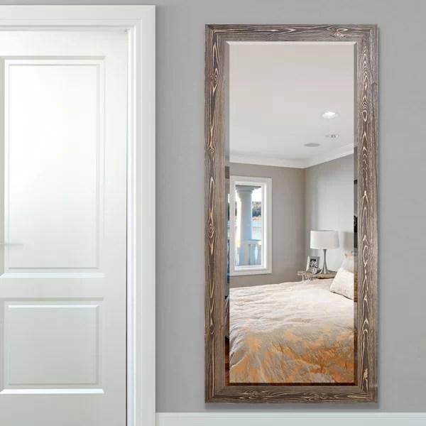 distressed wood frame mirror