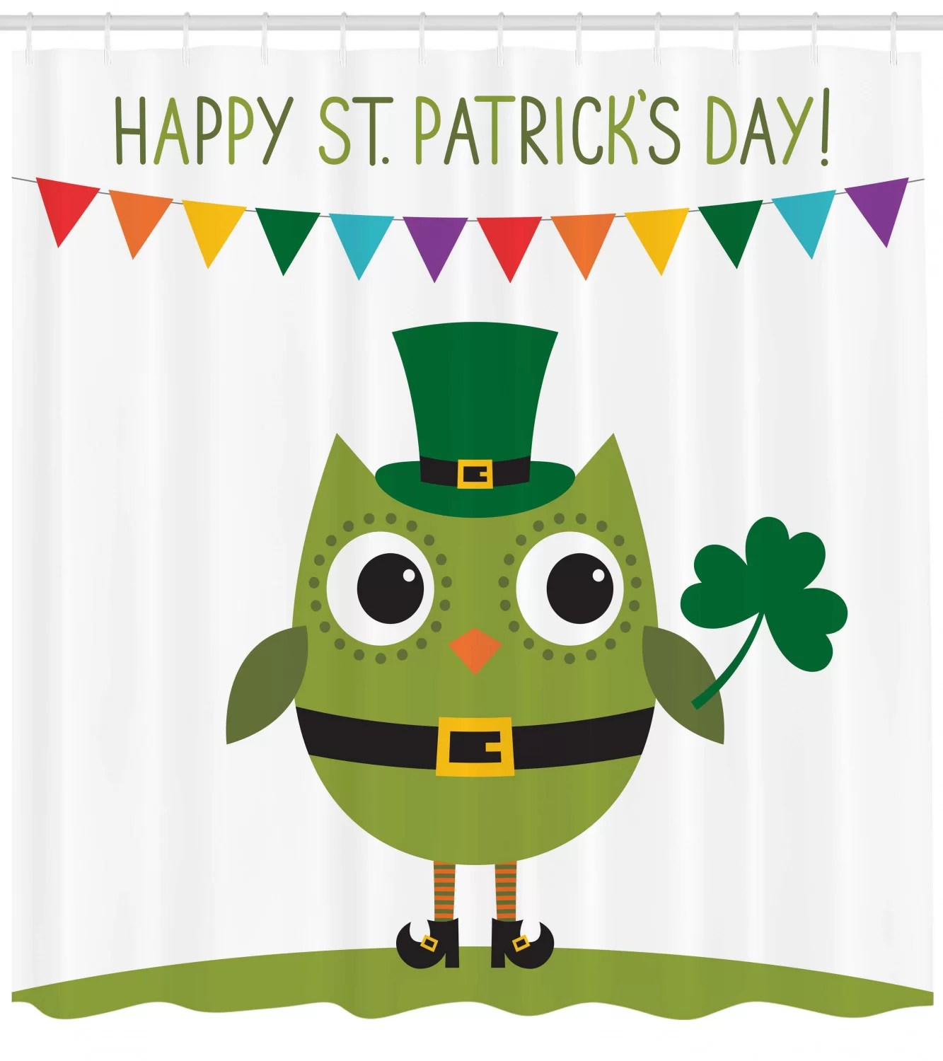 st patrick s day owl with leprechaun costume greeting design for party shamrock single shower curtain