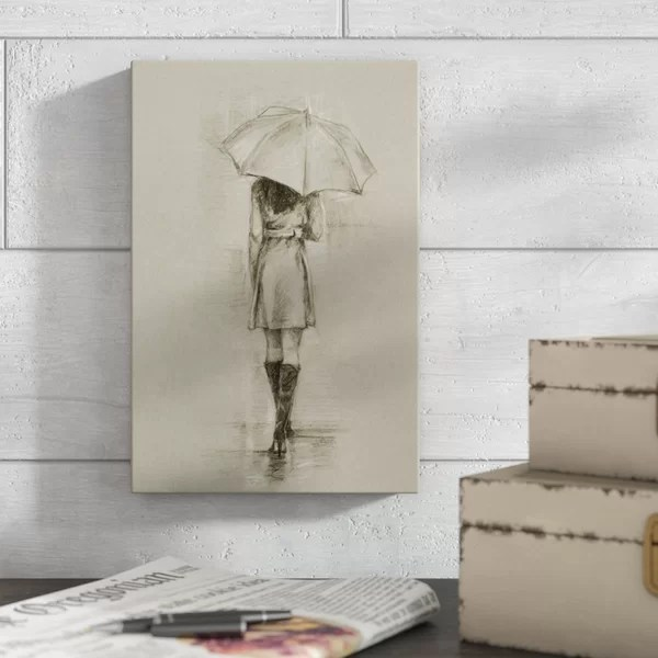 One Allium Way Rainy Day Rendezvous I Drawing Print On Canvas Wayfair