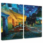 Vault W Artwork Cafe Terrace At Night By Vincent Van Gogh 2 Piece Wrapped Canvas Painting Print Set Reviews
