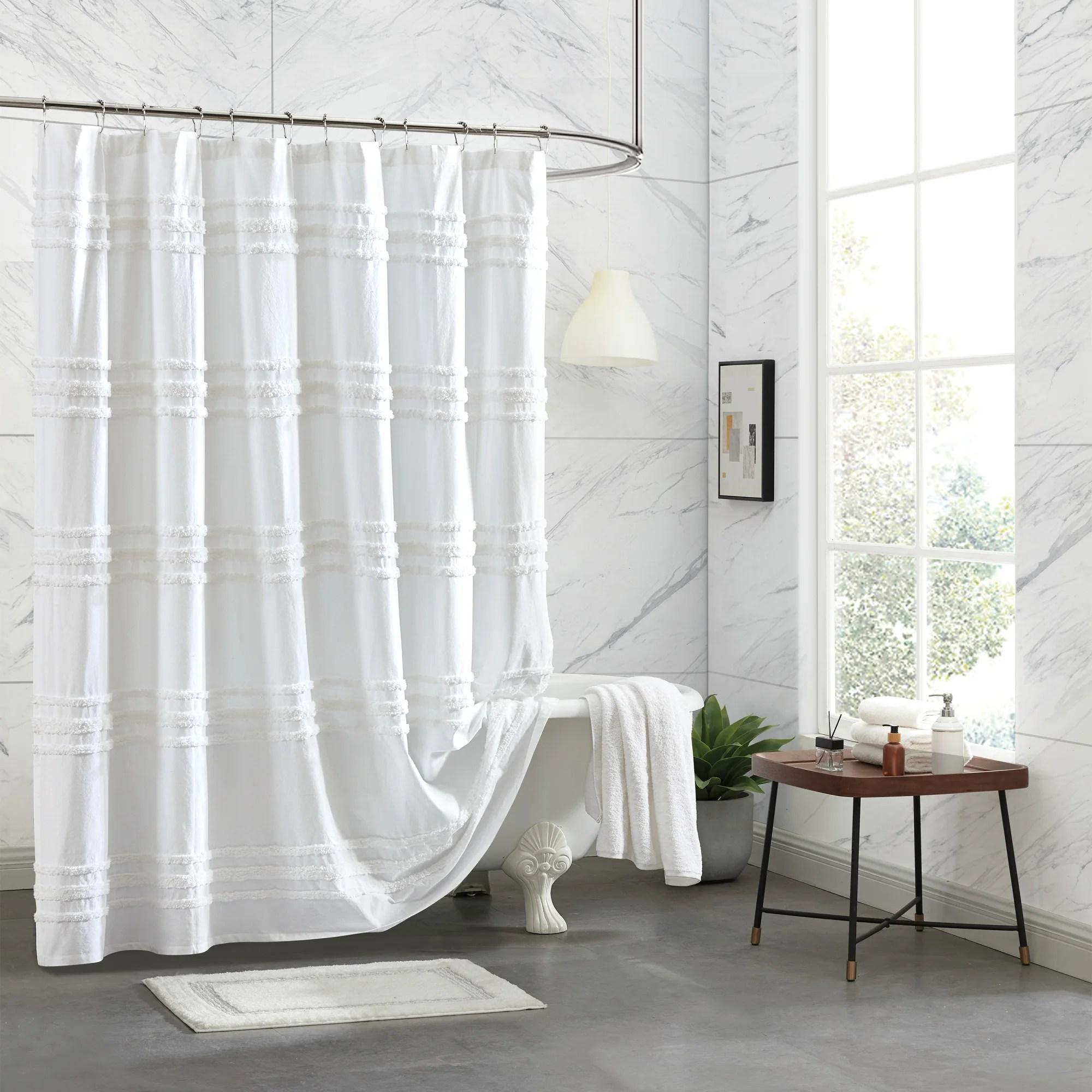 chenille stripe cotton striped single shower curtain