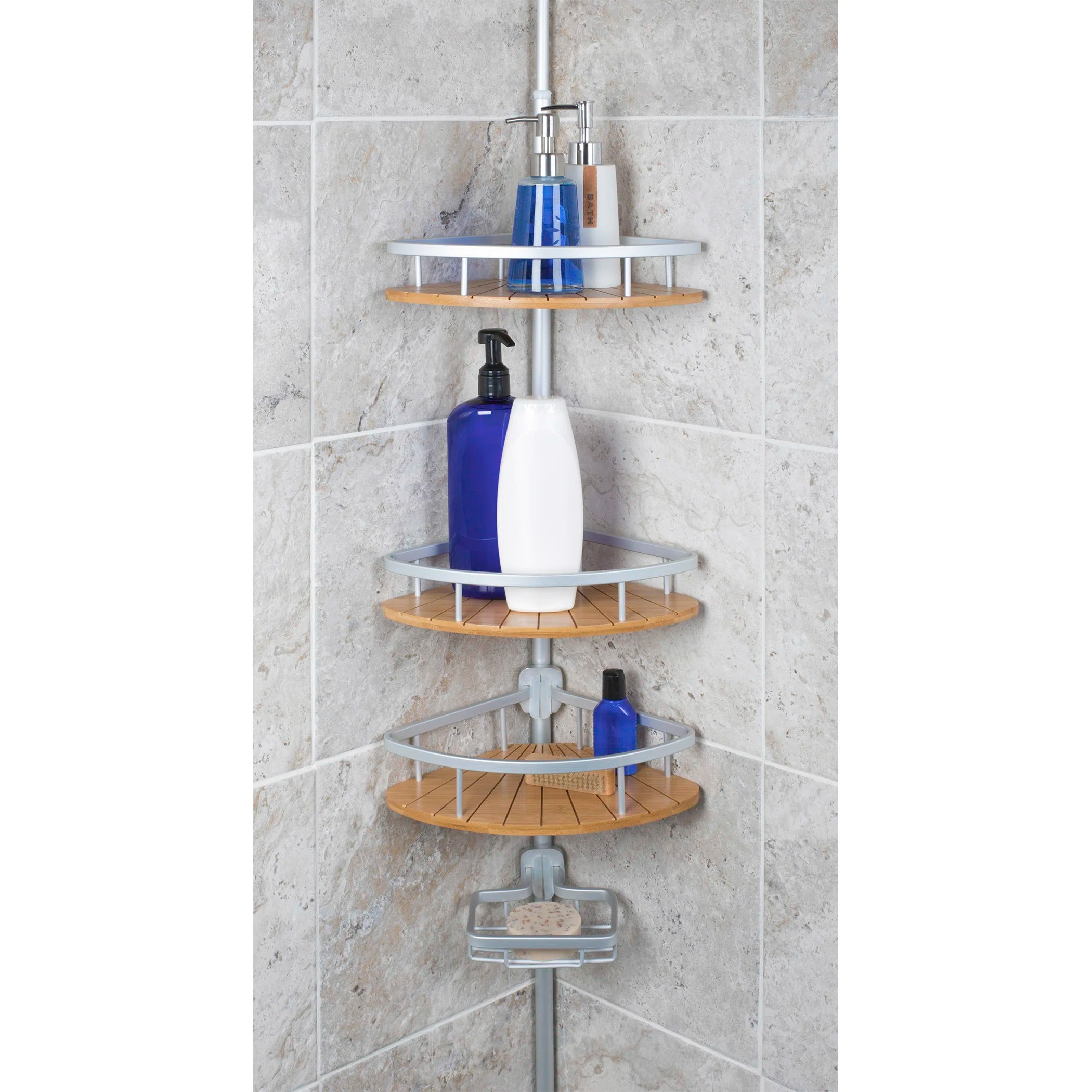 Rebrilliant 4 Tier Aluminum Tension Pole With Bamboo Reviews Wayfair