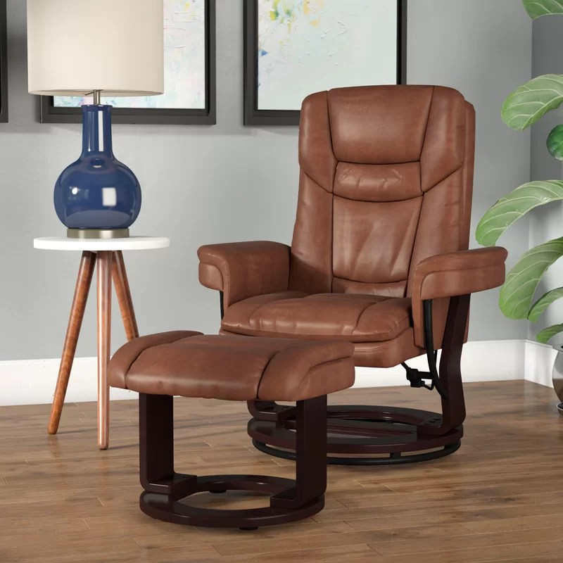 faux leather manual swivel recliner with ottoman