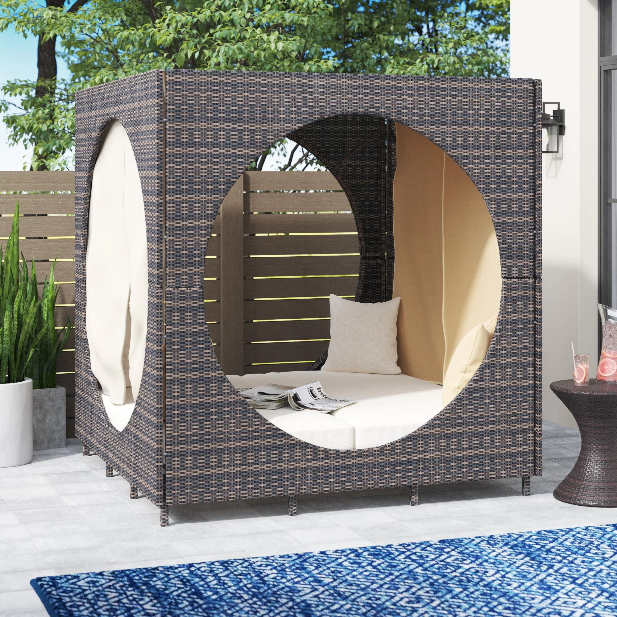 chessani 72 wide outdoor wicker patio daybed with cushions
