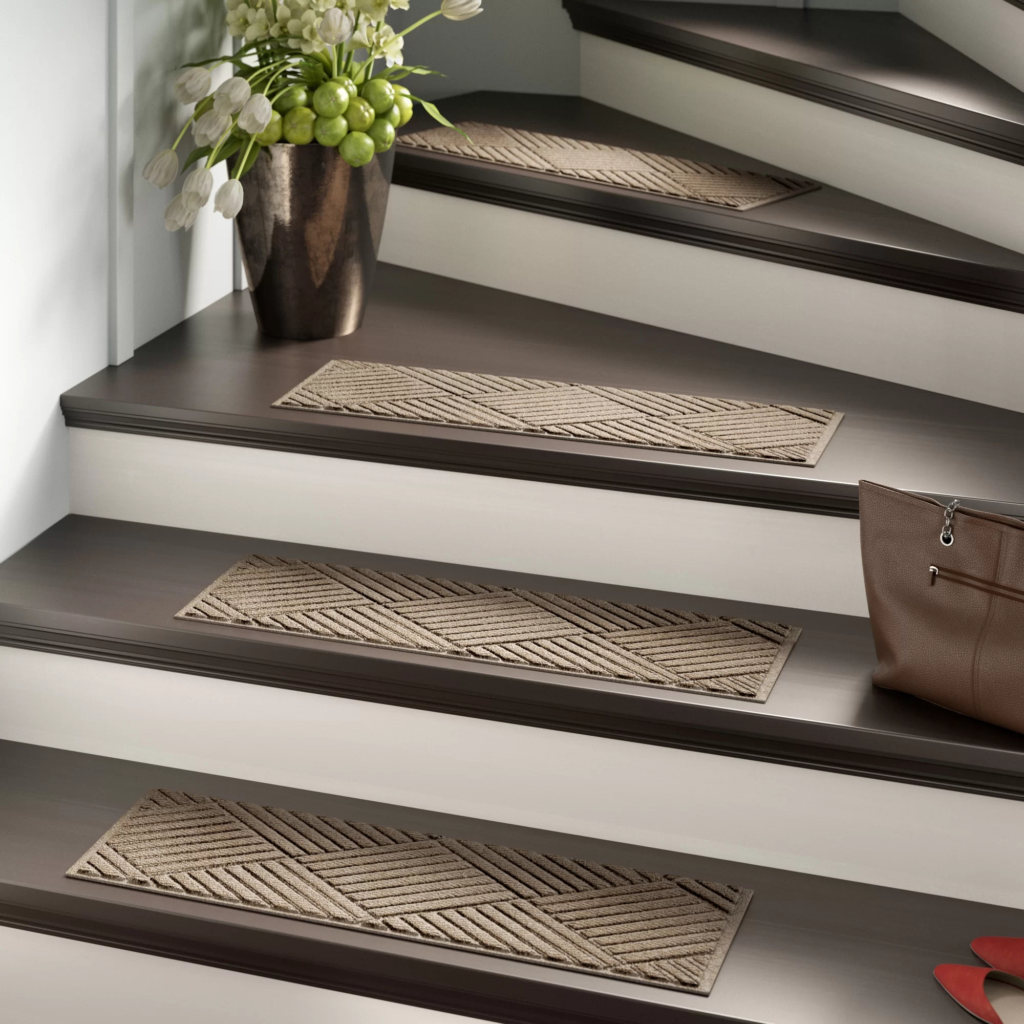 Tucker Murphy™ Pet Beauvais Stair Tread Reviews Wayfair   Rubber Backed Carpet Stair Treads   Ottomanson Softy   Wood   Softy Stair   Slip Resistant Rubber   Beige