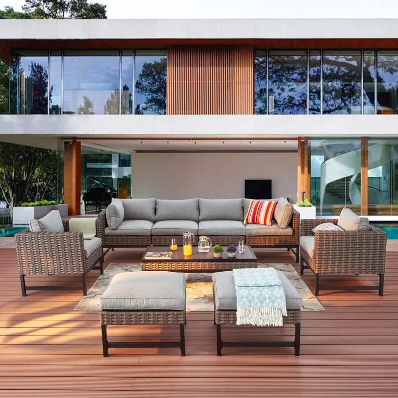 ahern 9 piece rattan sofa seating group with cushions