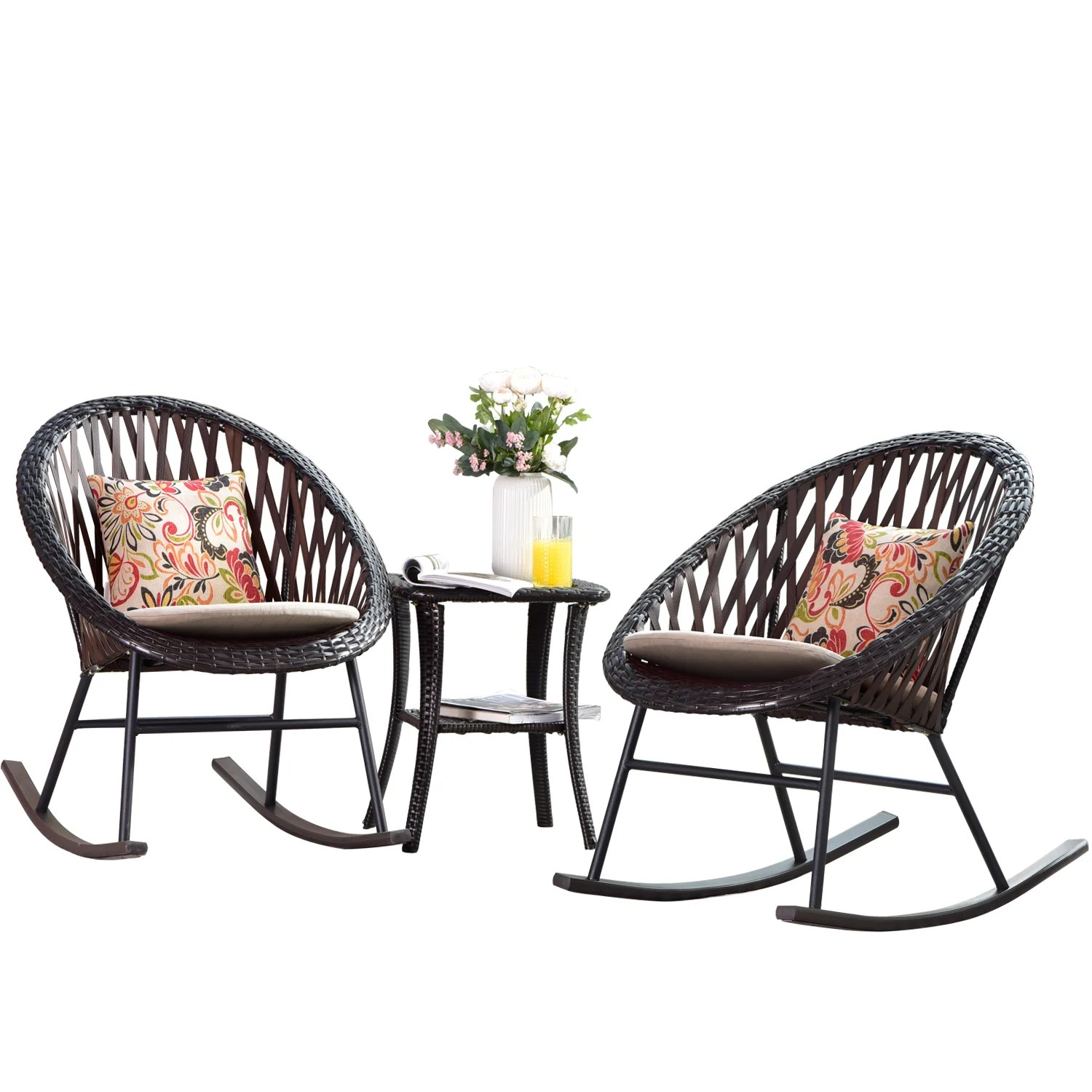 roberta 3 piece outdoor rocking chair set with cushion