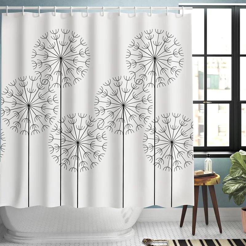 kass modern hand drawn digital flower dandelions botanic plants nature artwork print single shower curtain