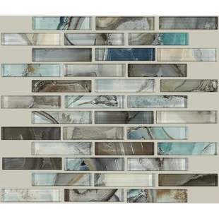 neptune 1 x 4 glass mosaic tile