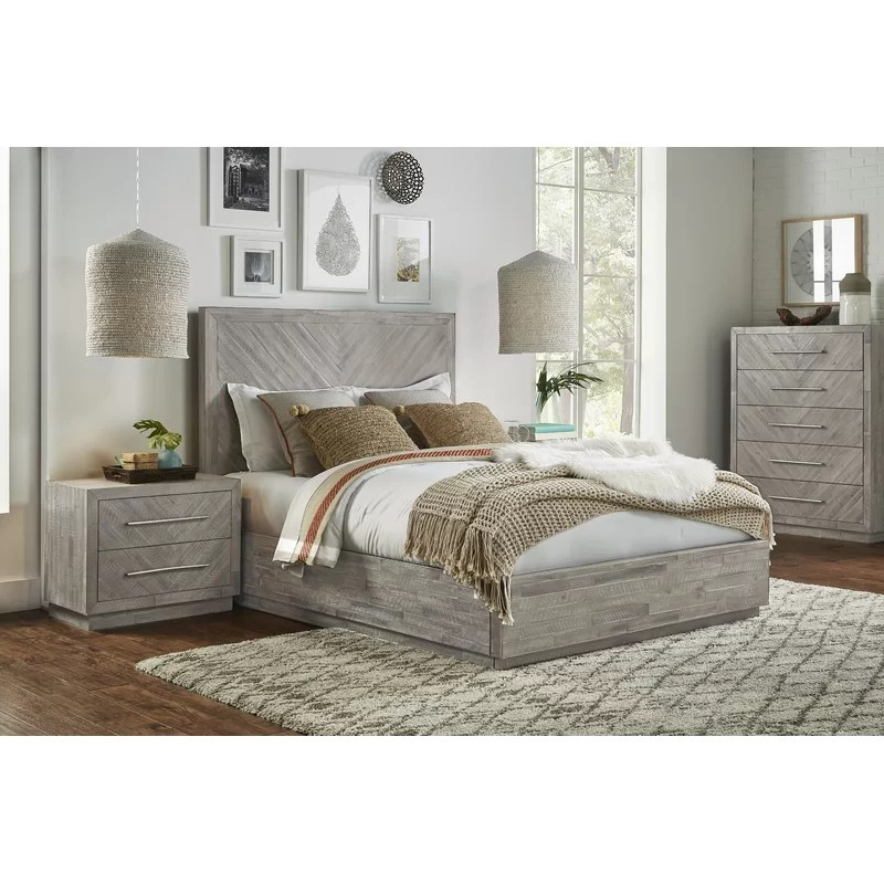 platform solid wood configurable bedroom set