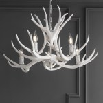 Millwood Pines Rohrbach Resin Antler Adjustable 5 Light Candle Style Wagon Wheel Chandelier Reviews