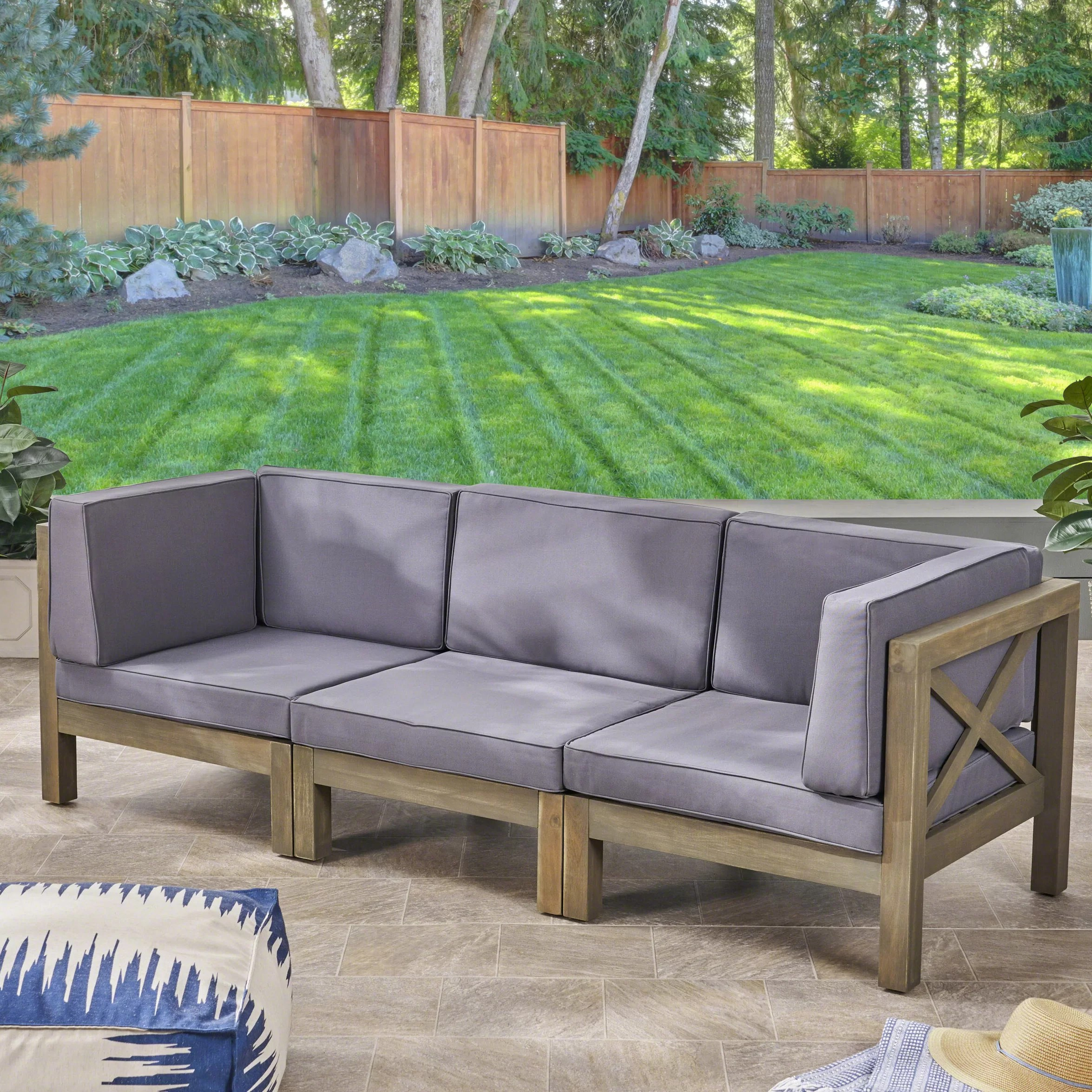 88 5 wide outdoor patio sofa with cushions