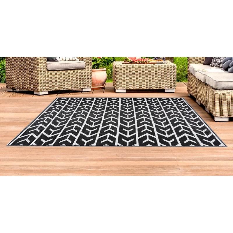 brezin geometric black indoor outdoor area rug