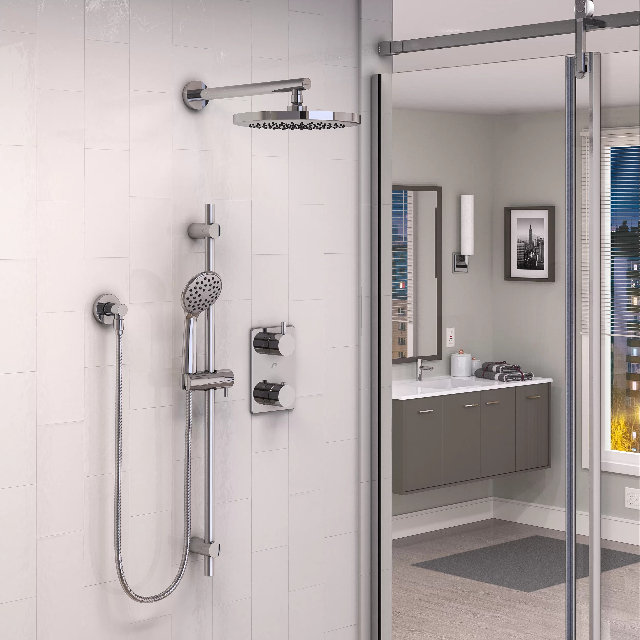 Pressure Balanced Complete Shower System With Rough In Valve