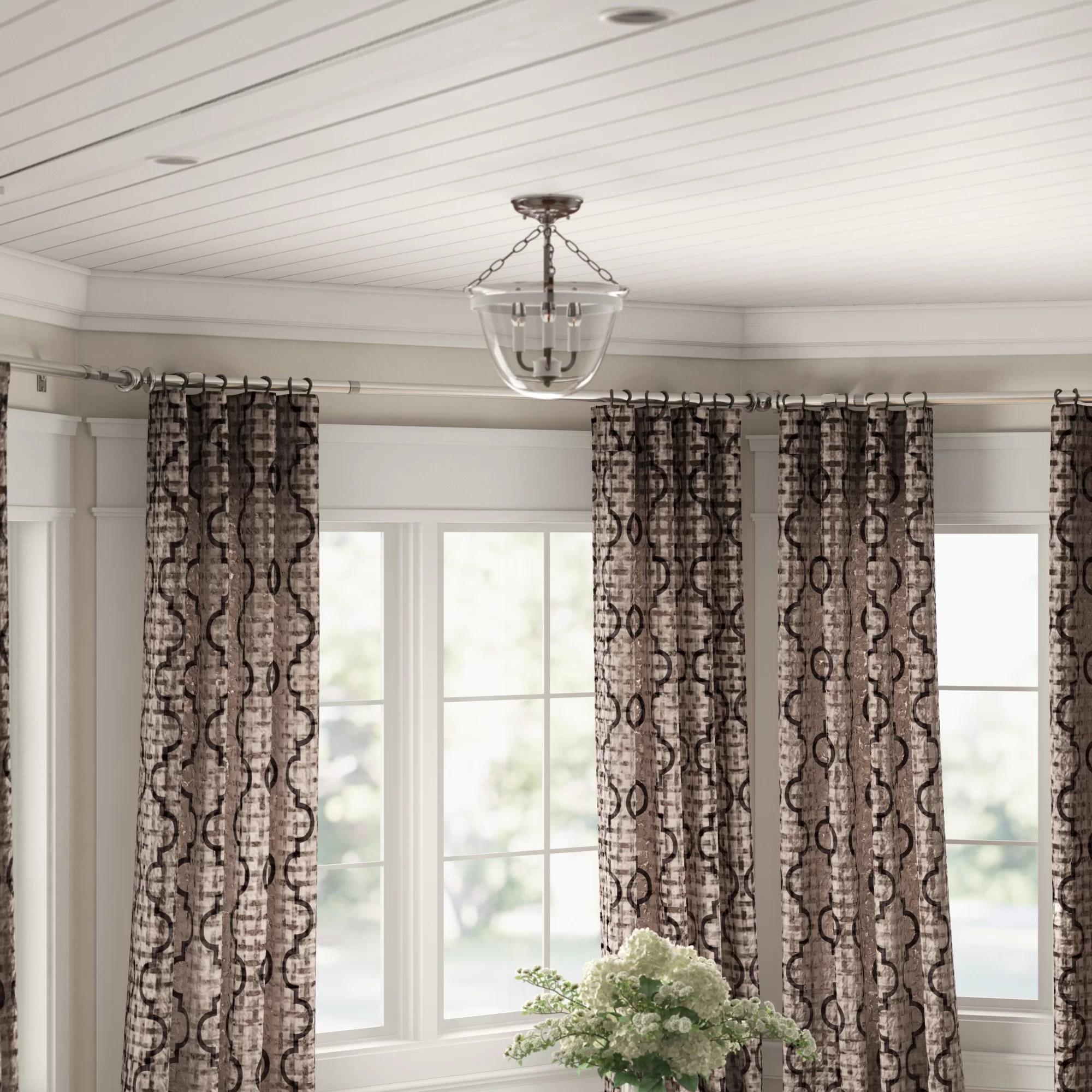 leavy bay window single curtain rod hardware set
