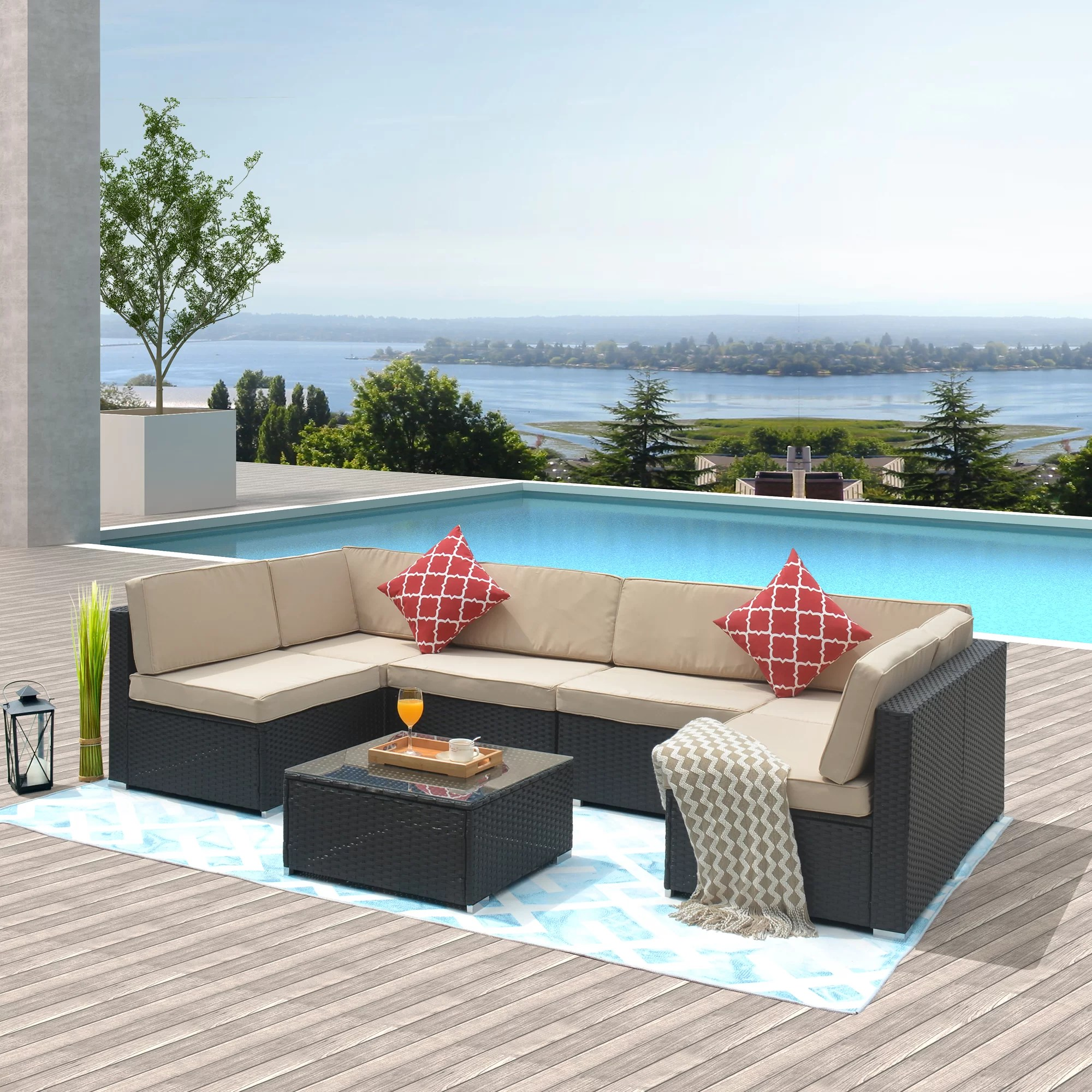bailey grace 7 piece rattan sofa seating group with cushions