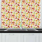 East Urban Home Food Cartoon Pattern Of Pepper Apple Watermelon Kiwi Carrot Cherry Peas Orange Lemon Kitchen Curtains Wayfair
