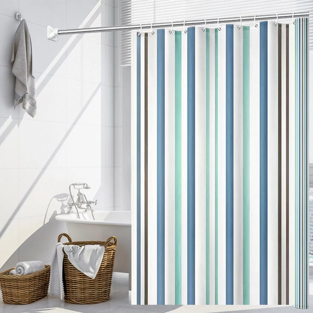 epps 13 piece striped shower curtain set hooks